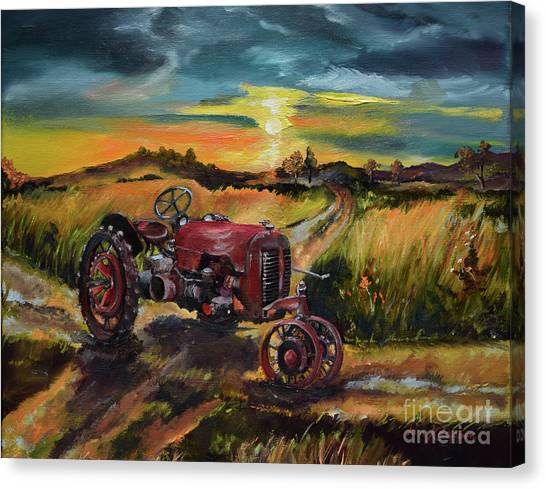 Old Red At Sunset - Tractor Canvas Print