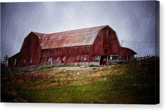 Dilapidated Canvas Print - Old Red Barn by Maggie Terlecki