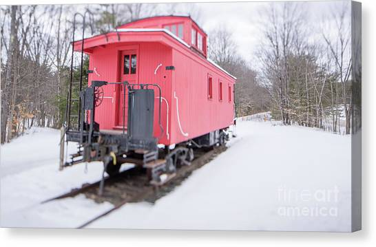 Canvas Print featuring the photograph Old Red Caboose In Winter Tilt Shift by Edward Fielding