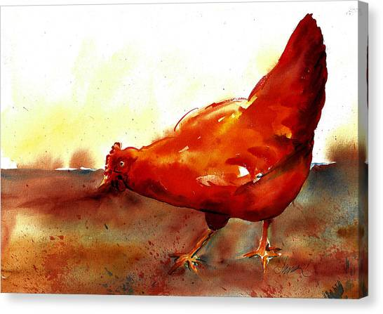 Picking With The Chickens Canvas Print