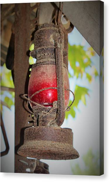 Timeworn Canvas Print - Old Red Lamp by Marnie Patchett
