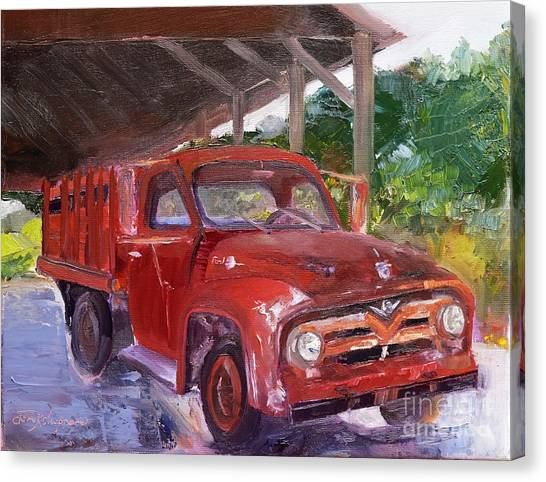Canvas Print featuring the painting Old Red Truck - Mountain Valley Farms - Ellijay by Jan Dappen
