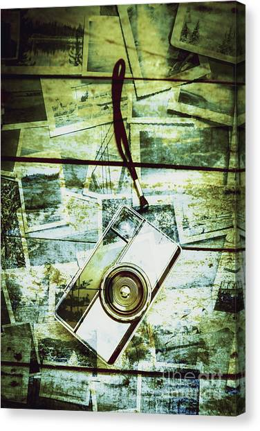 Vintage Camera Canvas Print - Old Retro Film Camera In Creative Composition by Jorgo Photography - Wall Art Gallery