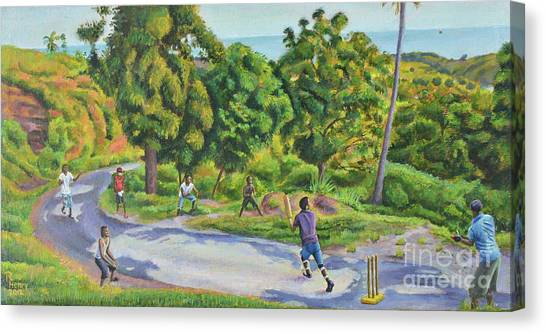 Mango Tree Canvas Print - Old Road Cricket  by Ron Henry