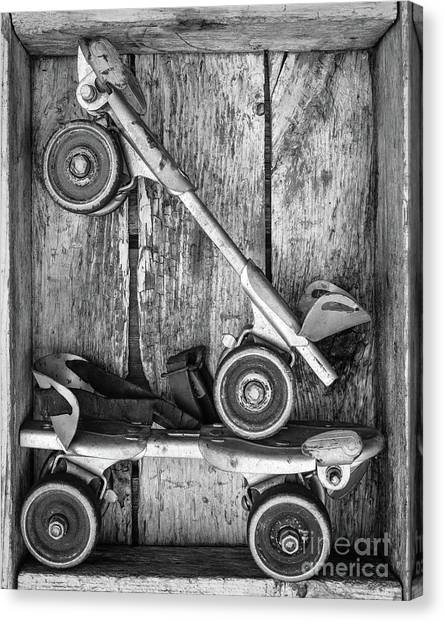 Roller Skating Canvas Print - Old Roller Skates Black And White by Edward Fielding