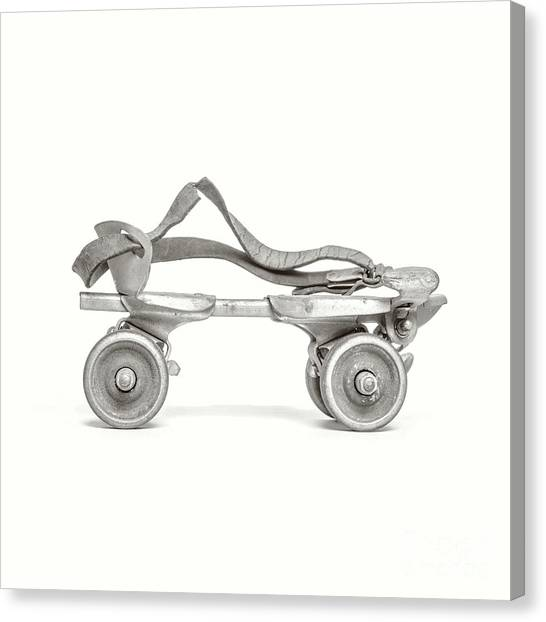 Canvas Print featuring the photograph Old Rollerskate Black And White by Edward Fielding