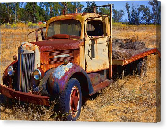Rusty Truck Canvas Print - Old Rusting Flatbed Truck by Garry Gay