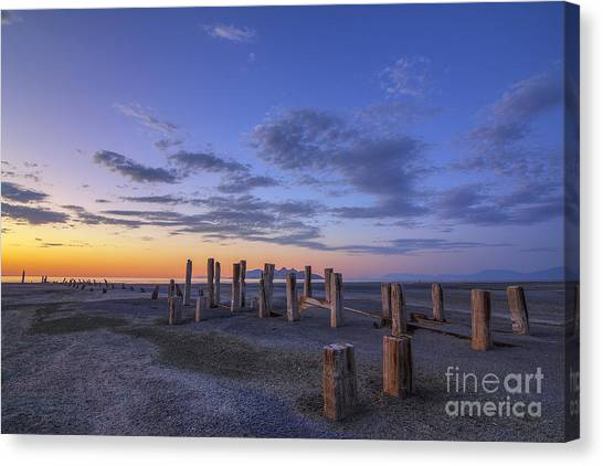Old Saltair Posts At Sunset Canvas Print