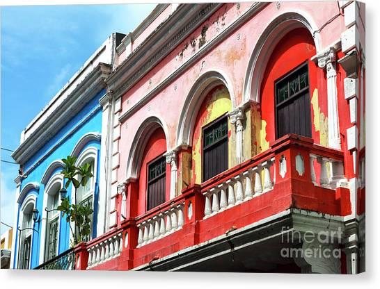 Old San Juan Balcony Canvas Print by John Rizzuto