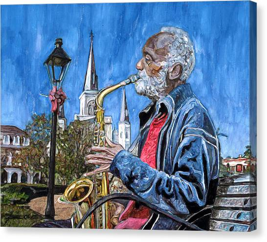 Gumbo Canvas Print - Old Sax Player In Jackson Square by John Boles