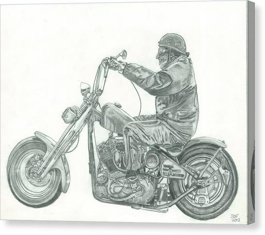 Pencil Drawing Motorcycle Canvas Print - Old School Chopper by Francois Michaud