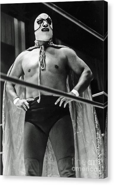 Old School Masked Wrestler Luchador Canvas Print