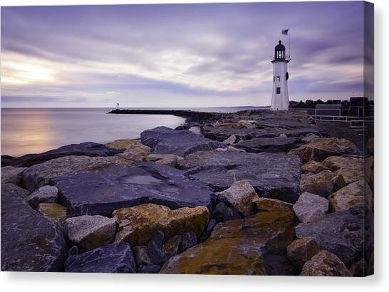 Old Scituate Light At Sunrise Canvas Print