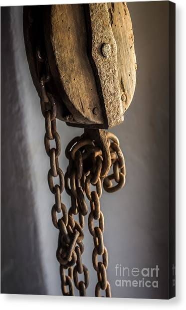 Chain Link Canvas Print - Old Sheave by Carlos Caetano