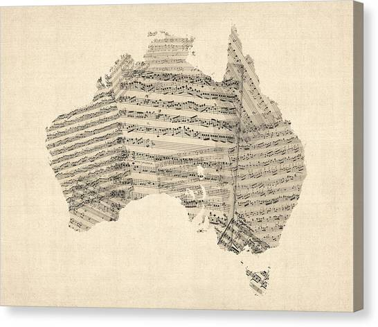 Sheet Canvas Print - Old Sheet Music Map Of Australia Map by Michael Tompsett