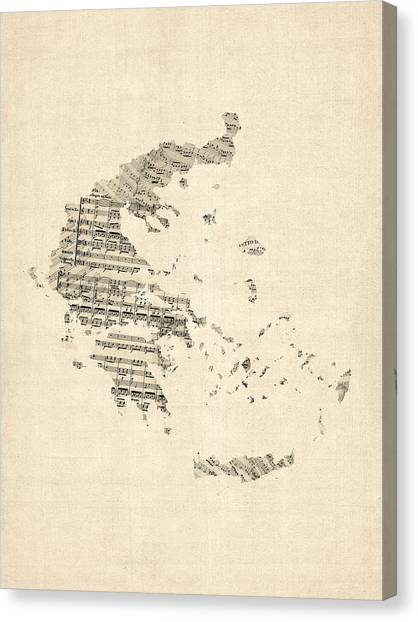 Greece Canvas Print - Old Sheet Music Map Of Greece Map by Michael Tompsett