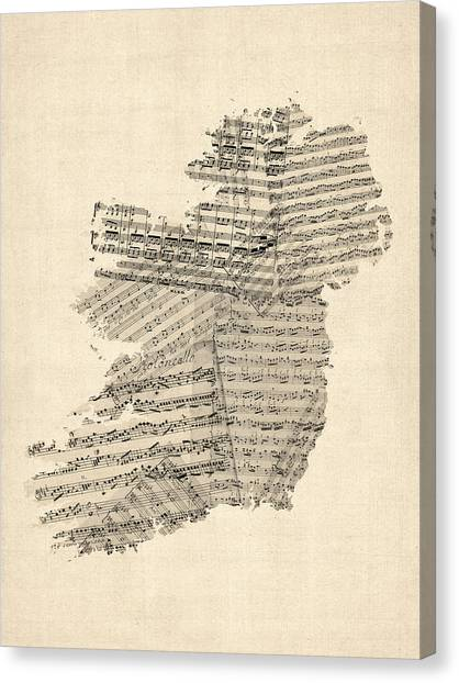Irish Canvas Print - Old Sheet Music Map Of Ireland Map by Michael Tompsett