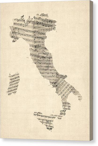 Map Canvas Print - Old Sheet Music Map Of Italy Map by Michael Tompsett