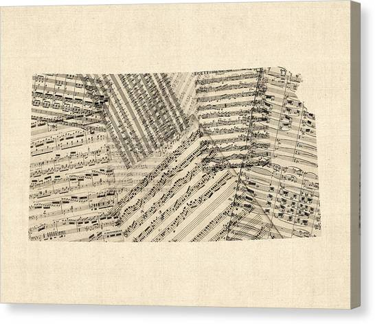 Kansas Canvas Print - Old Sheet Music Map Of Kansas by Michael Tompsett
