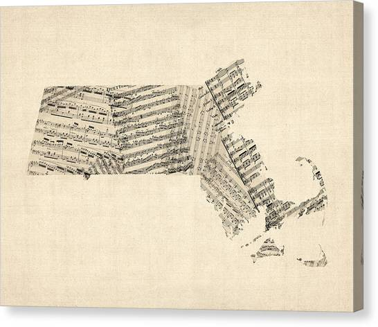 Massachusetts Canvas Print - Old Sheet Music Map Of Massachusetts by Michael Tompsett