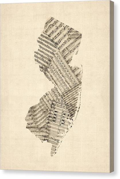 Jerseys Canvas Print - Old Sheet Music Map Of New Jersey by Michael Tompsett