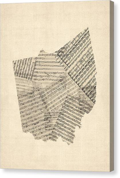 Ohio Canvas Print - Old Sheet Music Map Of Ohio by Michael Tompsett