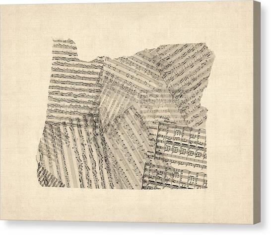 Oregon Canvas Print - Old Sheet Music Map Of Oregon by Michael Tompsett