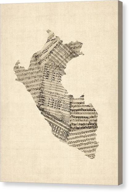 South American Canvas Print - Old Sheet Music Map Of Peru Map by Michael Tompsett