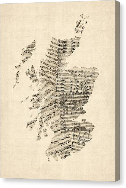 Geography Canvas Print - Old Sheet Music Map Of Scotland by Michael Tompsett