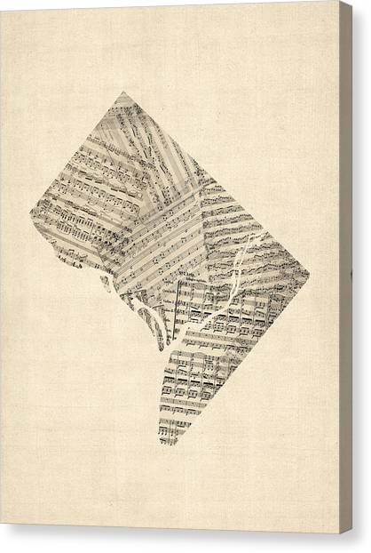 Dc Canvas Print - Old Sheet Music Map Of Washington Dc by Michael Tompsett