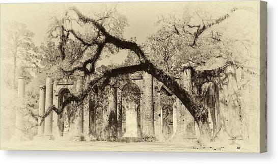 Old Sheldon Church Ruins Bw Canvas Print