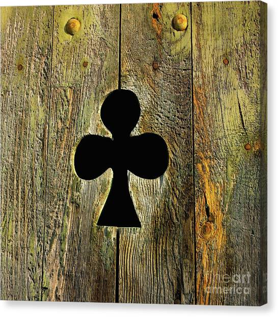 Clover Canvas Print - Old Shutter In Wood by Bernard Jaubert