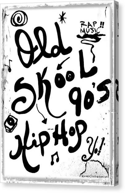 Canvas Print featuring the drawing Old-skool 90's Hip-hop by Rachel Maynard