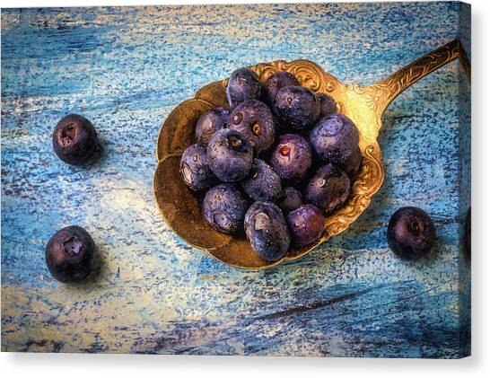 Blueberries Canvas Print - Old Spoon Full Of Blueberries by Garry Gay