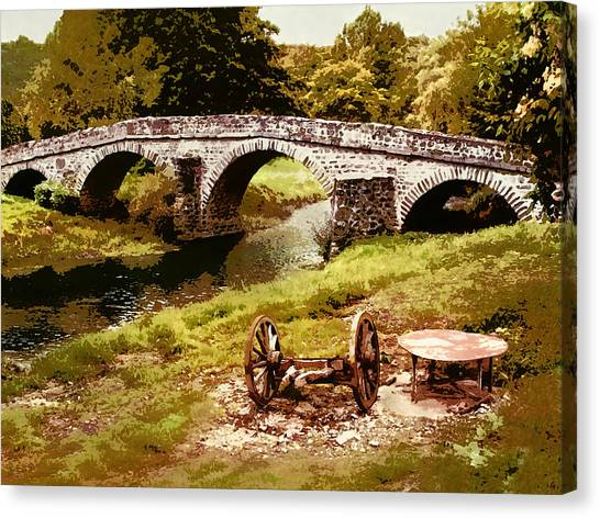 Old Stone Bridge In France Canvas Print