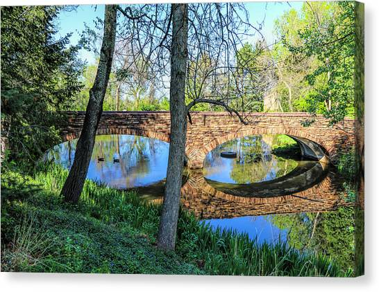 University Of Colorado Canvas Print - Old Stone Bridge by Lorraine Baum