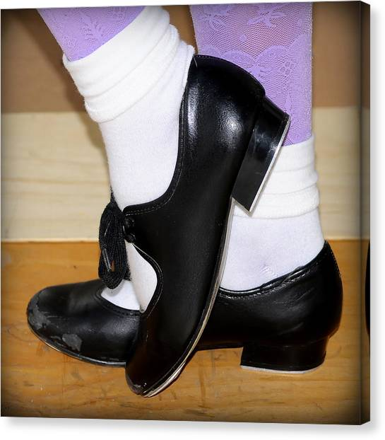 Tap Dance Canvas Print - Old Tap Dance Shoes With White Socks And Wooden Floor by Pedro Cardona Llambias