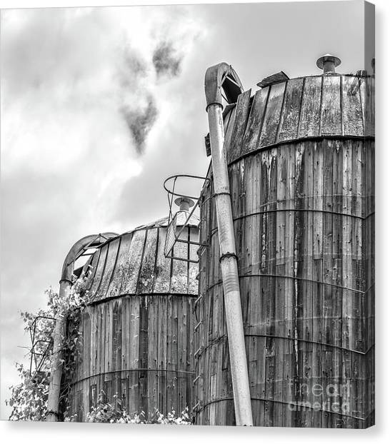 Canvas Print featuring the photograph Old Texas Wooden Farm Silos by Edward Fielding