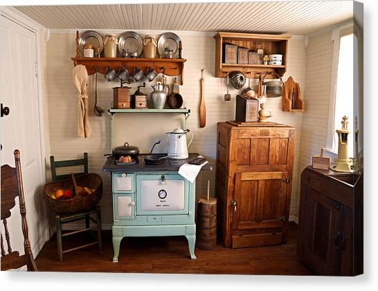 Crocks Canvas Print - Old Time Farmhouse Kitchen by Carmen Del Valle