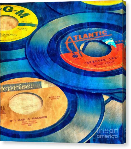 Jukebox Canvas Print - Old Time Rock And Roll 45s Vinyl by Edward Fielding