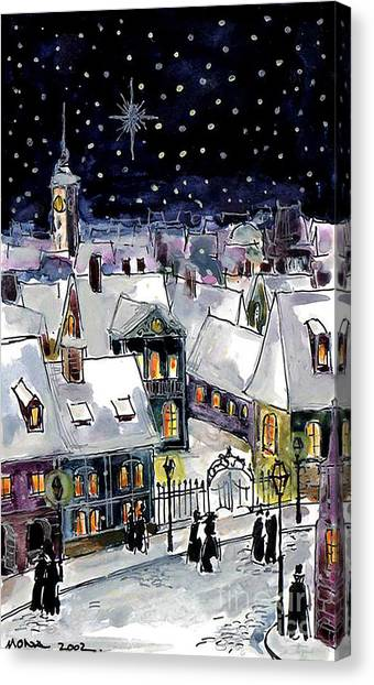 Church Yard Canvas Print - Old Time Winter by Mona Edulesco