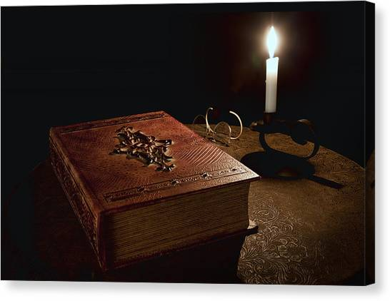Old Masters Canvas Print - Old Tome Still Life II by Tom Mc Nemar