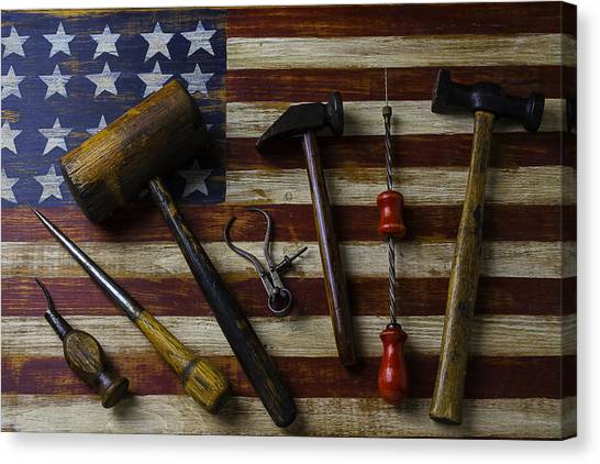 Gay Flag Canvas Print - Old Tools On Wooden Flag by Garry Gay