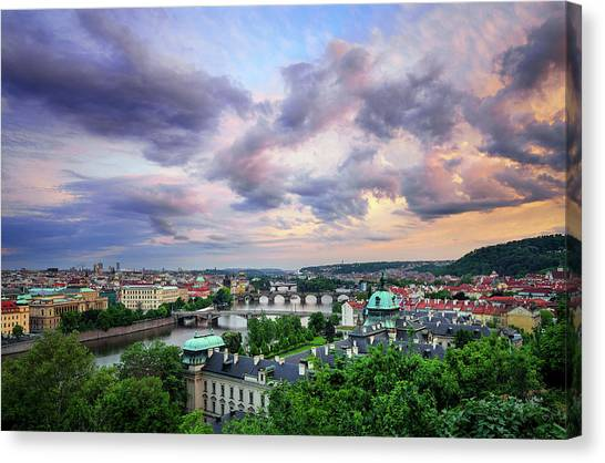 Old Town And Charles Bridge, Prague, Czech Republic Canvas Print