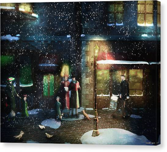 Old Town Christmas Eve Canvas Print
