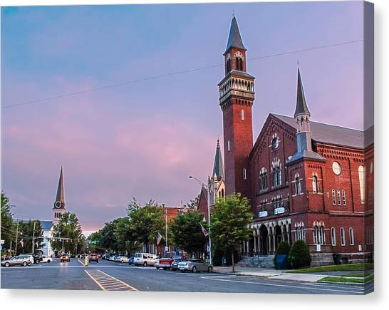 Old Town Hall Sunset Sky Canvas Print