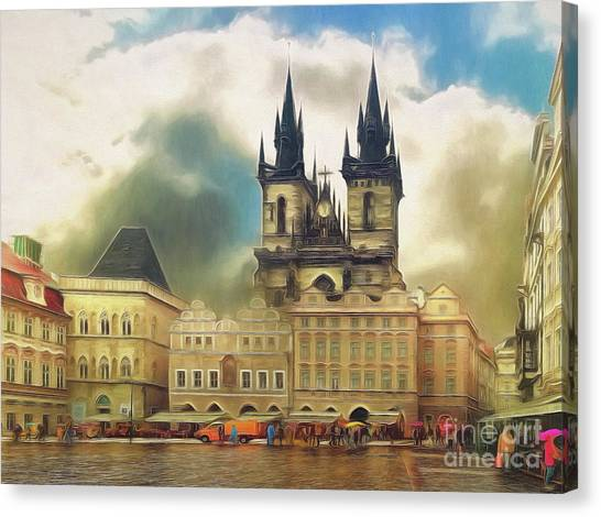 Old Town Square Prague In The Rain Canvas Print
