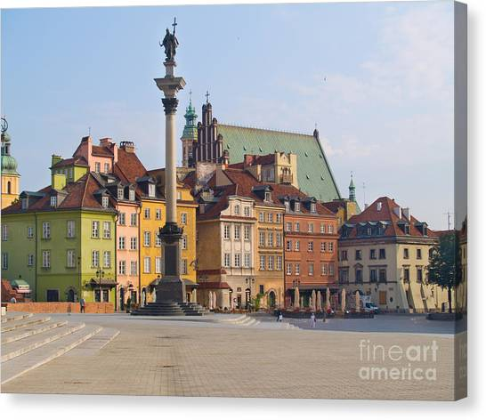 Old Town Square Zamkowy Plac In Warsaw Canvas Print