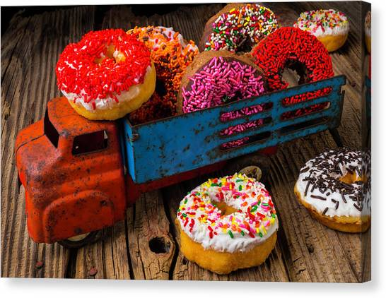 Doughnuts Canvas Print - Old Toy Truck And Donuts by Garry Gay