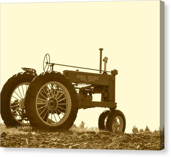 Old Tractor IIi In Sepia Canvas Print